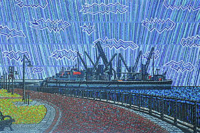 Painting - Shipyards A Newport News by Micah Mullen