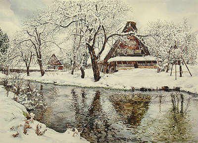 Snowy Stream Painting - Shirakawa Go by Matthew Phinn