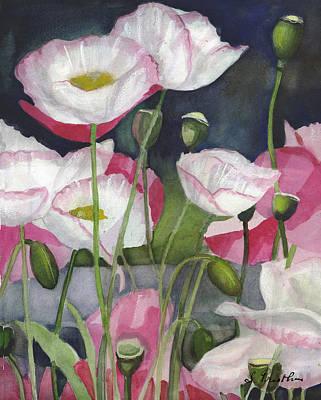 Egg Tempera Mixed Media - Shirley Poppies Galore by Lori  Presthus
