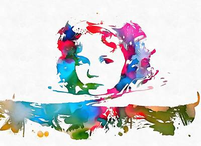 Shirley Temple Mixed Media - Shirley Temple Watercolor Paint Splatter by Dan Sproul