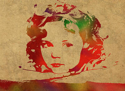 Temple Mixed Media - Shirley Temple Watercolor Portrait by Design Turnpike