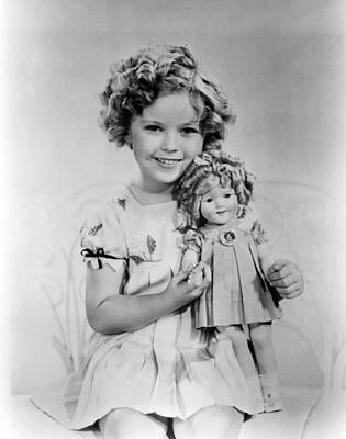Shirley Temple With A Shirley Temple Art Print by Everett