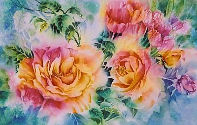 Shirleys-roses Art Print by Nancy Newman
