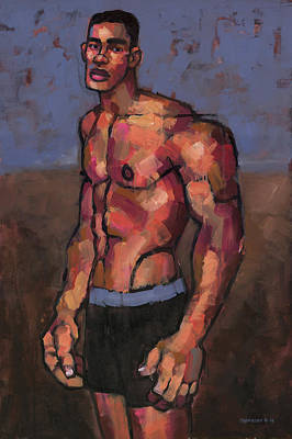Youth Painting - Shirtless Fighter by Douglas Simonson