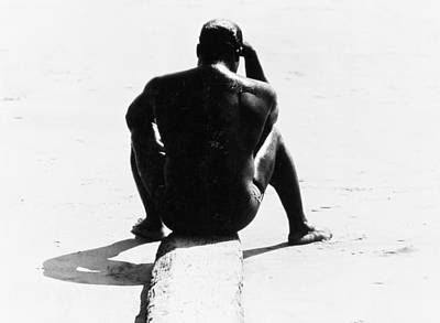 Shirtless Seated Man At Coney Island Art Print by Nat Herz