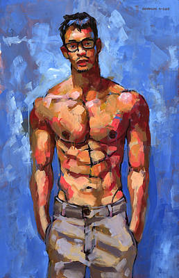 Figurative Painting - Shirtless With Glasses by Douglas Simonson