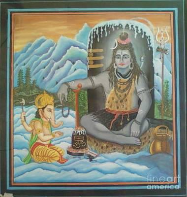 Shiv Ji Nd Ganesh Ji Art Print by Ravi Kumar