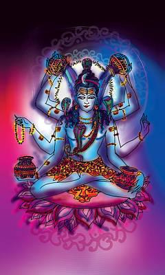 Painting - Shiva Abhishek  by Guruji Aruneshvar Paris Art Curator Katrin