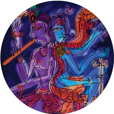 Painting - Shiva And Krishna by Guruji Aruneshvar Paris Art Curator Katrin Suter