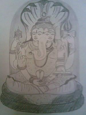 Parvati Drawing - Shiva Ganesh And Parvathi In Penance by Nischitha Shenoy