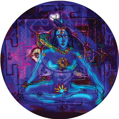 Painting - Shiva In Meditation by Guruji Aruneshvar Paris Art Curator Katrin