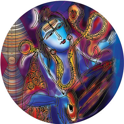 Painting - Shiva Playing The Drums by Guruji Aruneshvar Paris Art Curator Katrin Suter