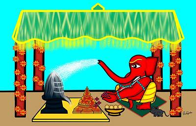 Digital Art - Ganapati Worshiping Shiva And Shakti by Pratyasha Nithin