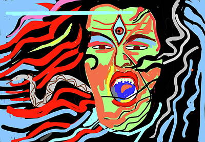 Digital Art - Shiva Swallowing Poison by Anand Swaroop Manchiraju