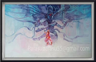 Parvati Mixed Media - Shiva Vs Parvati by Parasuraman Arumugam