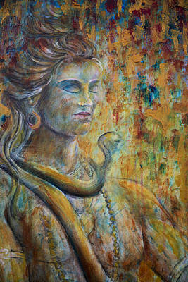 Art Print featuring the painting Shiva2-upclose-portrait by Nik Helbig