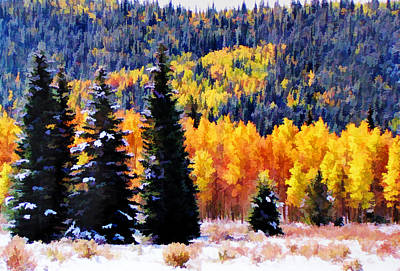 Shivering Pines In Autumn Art Print by Diane Alexander