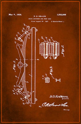 Shock Absorber Patent Drawing 1a Art Print