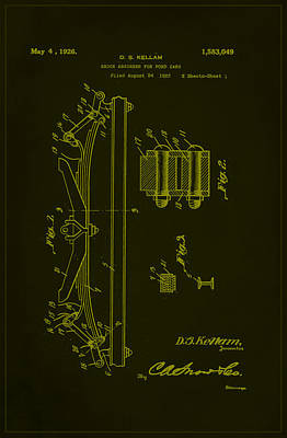 Shock Mixed Media - Shock Absorber Patent Drawing 1f by Brian Reaves