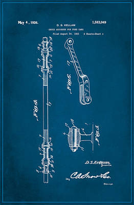 Shock Absorber Patent Drawing 2a Art Print