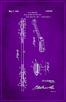 Shock Mixed Media - Shock Absorber Patent Drawing 2g by Brian Reaves