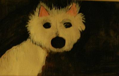 White Terrier Mixed Media - Shock by Shellie Gustafson
