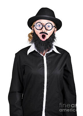 Shocked Mad Professor Woman Dressed As Man Art Print by Jorgo Photography - Wall Art Gallery