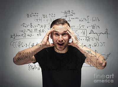Photograph - Shocked Man Looking At Mathematical Equation. by Michal Bednarek