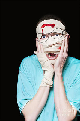 Dismay Photograph - Shocked Patient Nursing A Broken And Bloody Head by Jorgo Photography - Wall Art Gallery