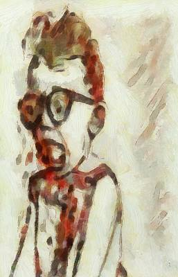 Painting - Shocked Scared Screaming Boy With Curly Red Hair In Glasses And Overalls In Acrylic Paint As A Loose by MendyZ