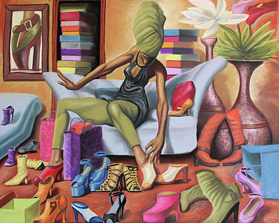 Black Woman Painting - Shoe Addict by The Art of DionJa'Y