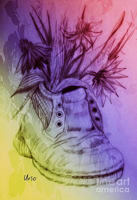 Mixed Media - Shoe Art 1 by Maria Urso