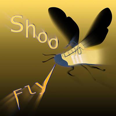 Swatting Fly Digital Art - Shoe Fly Shoo - Word Play by Steve Ohlsen