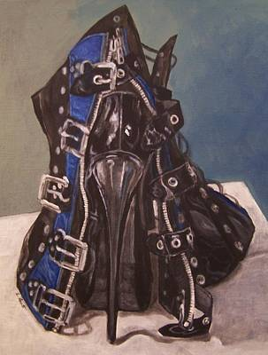Painting - Shoe In Black And Blue by Laura Aceto