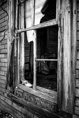 Photograph - Shoe In Window In Black And White by Greg Mimbs