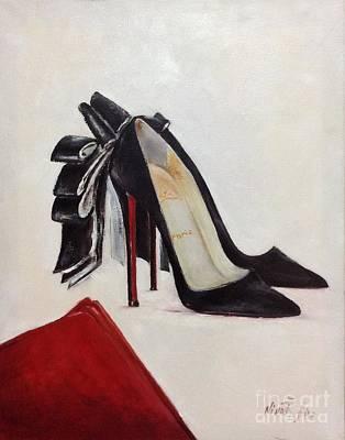 Shoe Lover Black Satin Bow Art Print by Nina R Aide