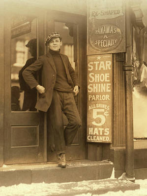 Photograph - Shoe Shine And Hat Boy 1912 by Daniel Hagerman