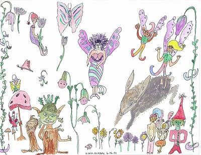 Shoe Tree Rabbit And Fairies Art Print