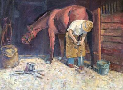 Painting - Shoeing. by Bart DeCeglie
