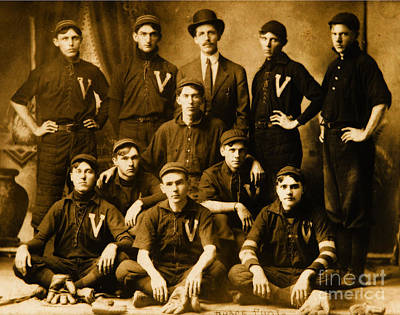 Photograph - Shoeless Joe Jackson With Victor The Mills Industrial Team Of Greer South Carolina by Unknown