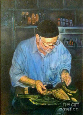 Shoemaker Painting - Shoemaker At Work by Farideh Haghshenas
