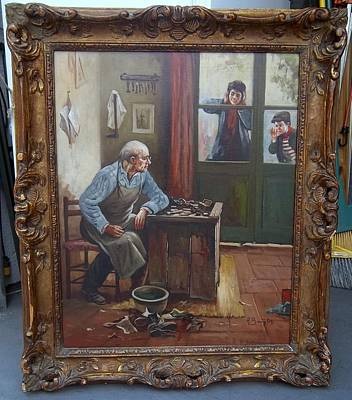 Shoemaker Painting - Shoemaker Shop by Aristodemo Baigler
