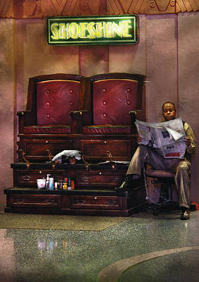 Shoes - Lee's Shoe Shine Stand Art Print by Mike Savad