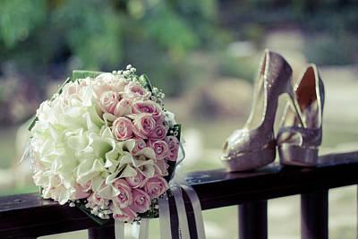 Wedding Preparation Painting - Shoes And Wedding Bouquet by Jan Pavlovski