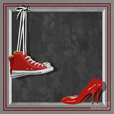Sneakers Digital Art - Shoes For Every Occasion by Monika Juengling