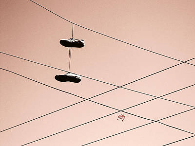 Photograph - Shoes On A Wire by Linda Hollis