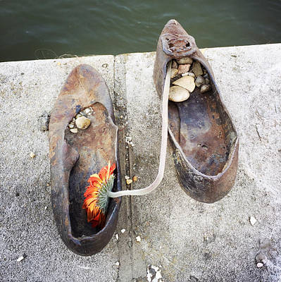 Grey Photograph - Shoes On The Danube Bank - Memorial In Budapest by Matthias Hauser