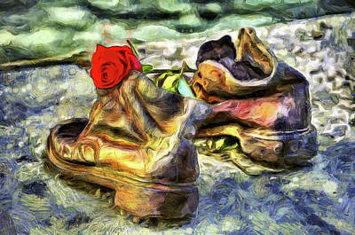 Photograph - Shoes On The Danube Van Gogh by David Pyatt