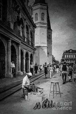 Photograph - Shoeshine Man In Jackson Square- Nola by Kathleen K Parker