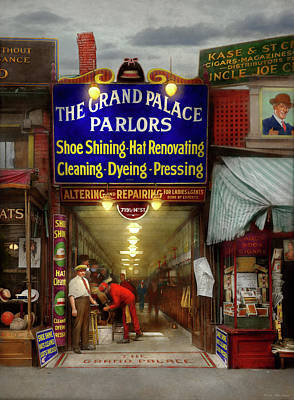 Photograph - Shoeshine - The Grand Palace Parlors 1922 by Mike Savad
